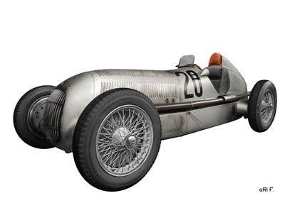 Mercedes-Benz W 25 Silberpfeil in Originalfarbe