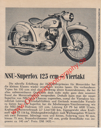 NSU Superfox 125 Werbung von 1955