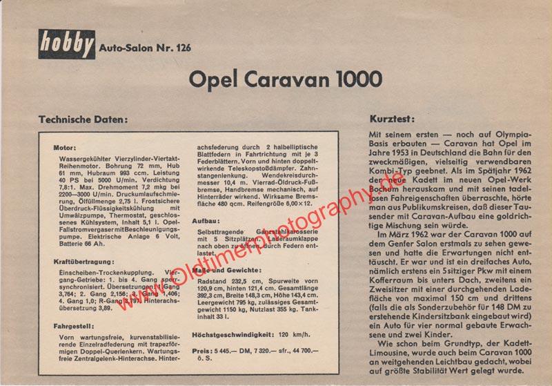 Opel Caravan 1000 Sammelblatt 02 aus Zeitung hobby von 1965