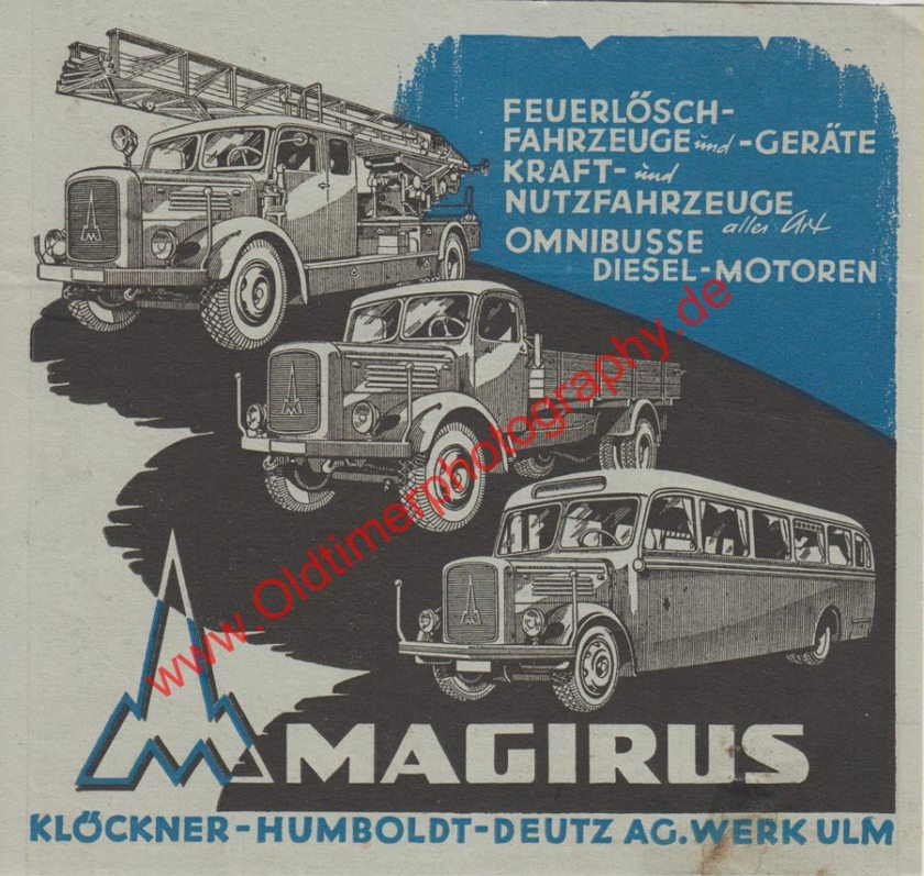 Original Magirus Deutz Werbung aus Zeitschrift von 1947