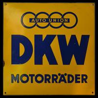 Auto Union DKW Motorräder Emailleschild, Datum unbekannt