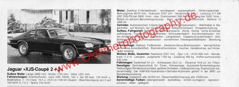 Jaguar XJ-S Advertising Werbung - technische Daten aus Auto-Katalog von 1980