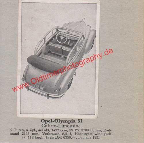 Opel Olympia 1951 mit Daten - Opel Sammelbild - Opel Werbung von 1952
