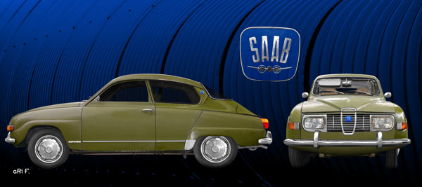 Saab 96 in black & green double view (Originalfarbe)