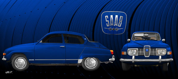 Saab 96 in blue & blue double view