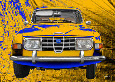 Saab 96 Poster in original Sweden colors
