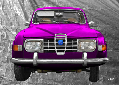 Saab 96 in silver & pink