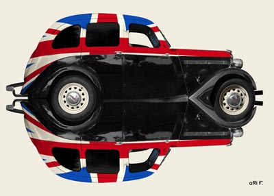 Singer Bantam Saloon in reflection with original Union Jack