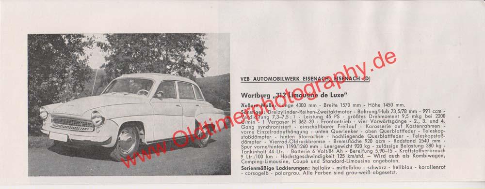 AWE Wartburg 312 Limousine de Luxe Werbung von 1965