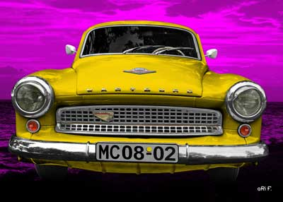Wartburg 312 Poster in yellow & pink
