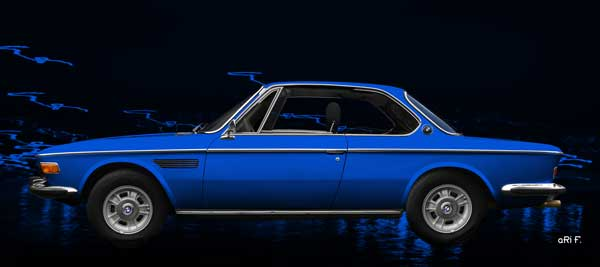 BMW 3.0 E9 in blue side view