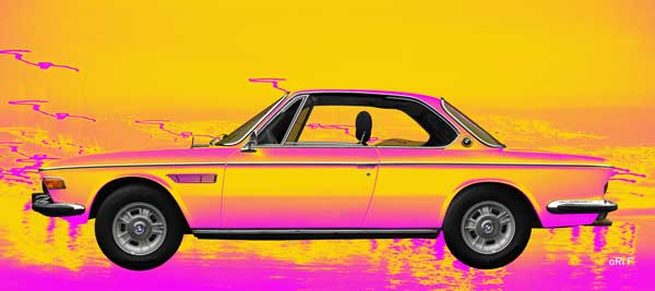 BMW 3.0 E9 in yellow-pink side view