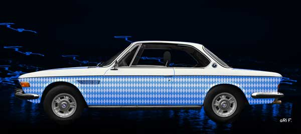 Poster BMW 3.0 E9 in bavarian blue-white