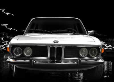 BMW 3.0 E9 in silver & black front view (Originalfarbe)