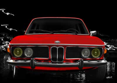 BMW 3.0 E9 in red front view