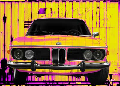 BMW 3.0 E9 Art Car Poster in Neon Colors