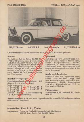 Fiat 1800 B / 2300 technische Daten