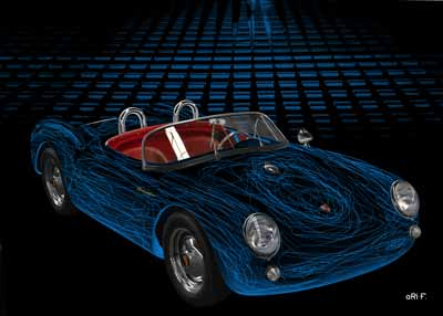 Art Car Porsche 550 Spyder in blue experimental by aRi F.