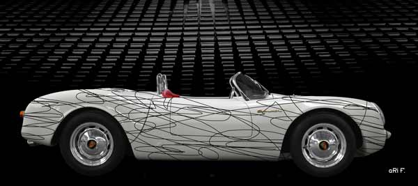 Porsche 550 Spyder in white & black experimental