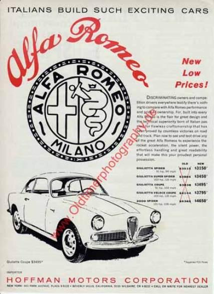 Alfa Romeo Giuletta Coupe Werbung von 1961