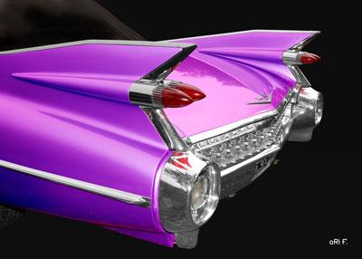 1959 Cadillac Serie 62 US-Klassiker Poster in black & pink