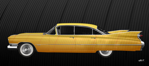 1959 Cadillac Serie 62 US-Klassiker in special yellow