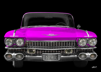 1959 Cadillac Serie 62 US-Klassiker in pink front view
