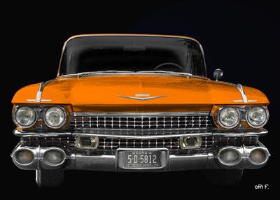 1959 Cadillac Serie 62 US-Klassiker in orange front view