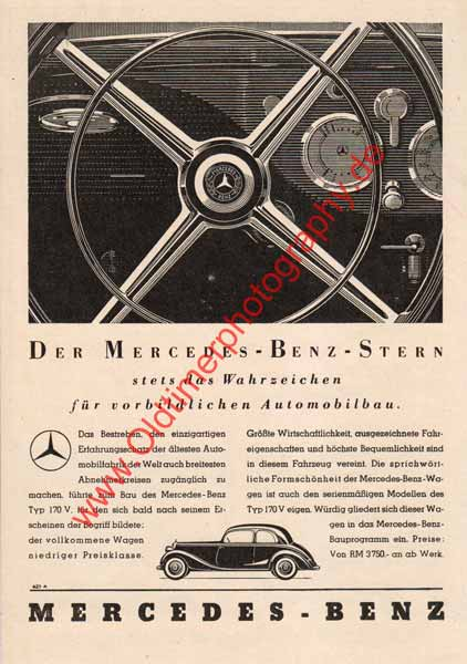 Mercedes Benz Typ 170 V Werbung von 1939