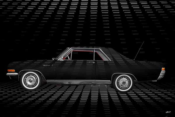 Opel Diplomat V8 Coupé Art Car Poster in black side view