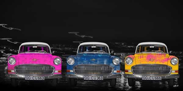 Opel Olympia Rekord Caravan view in 3 different Pop-art art cars
