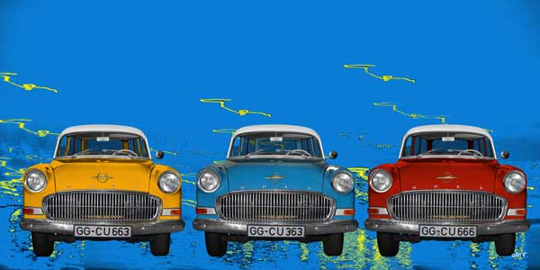 Opel Olympia Rekord Caravan view in 3 Pop-art cars