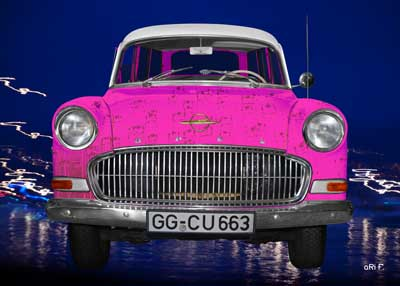 Opel Olympia Rekord Caravan as black & pink art car