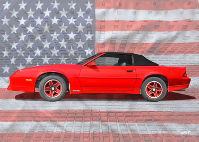 Chevrolet Camaro in red with American flag