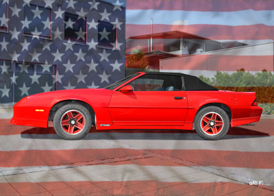 Chevrolet Camaro in red with stars & stripes