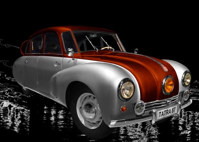 Tatra 87 Poster in silver & copper side view