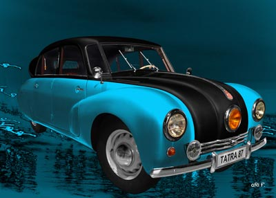 Tatra 87 Poster in blue & black side view
