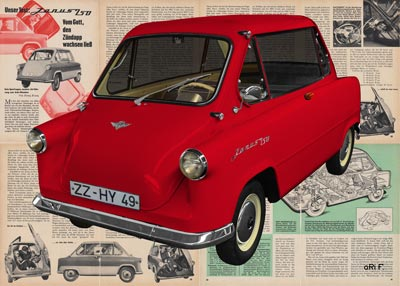 Zündapp Janus 250 Poster in red color with original advertisiment