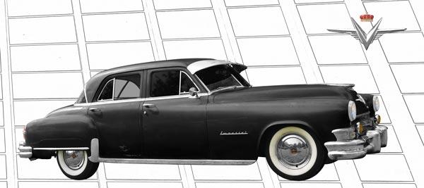 1952 Chrysler Imperial Poster in black graphit