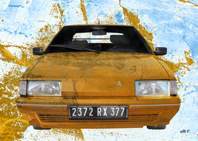 Citroen BX stone washed in brown & blue