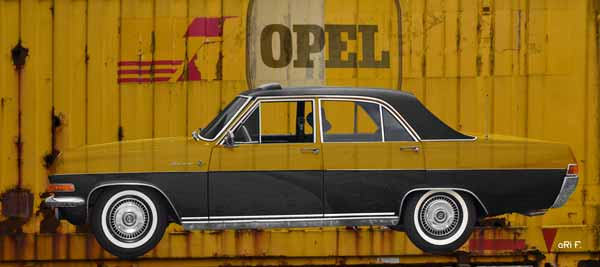 Opel Diplomat A published on yellow Container