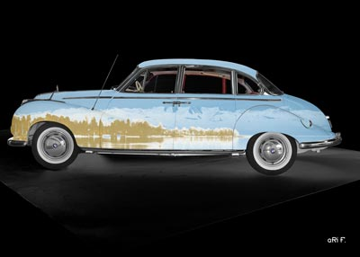 BMW 502 mit Bodenseepanorama und Alpen auf dem Body