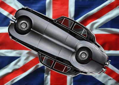 Bentley S2 in mirror image with Union Jack
