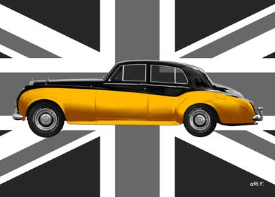 Bentley S2 Poster in gold metallic with Union Jack