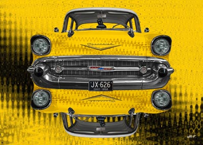 Chevrolet Bel Air 1957 reflection in yellow
