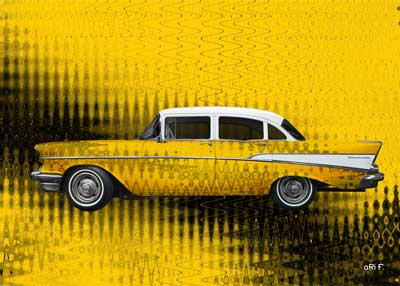Chevrolet Bel Air 1957 art car in yellow complete