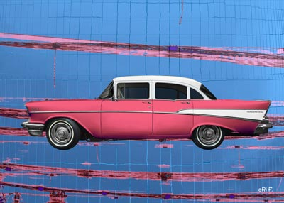 Chevrolet Bel Air 1957 art car in pink & blue