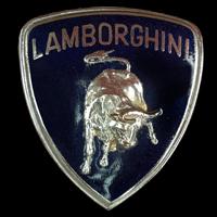 Logo Lamborghini mit blauer Hintergrundfarbe