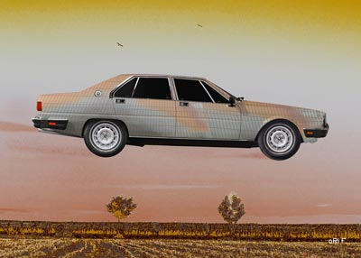 Poster Maserati Quattroporte III fly over the fields