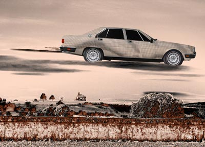 Maserati Quattroporte III flying over Poster in brown colors